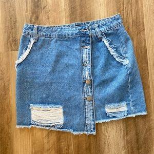Asymmetrical Forever 21 Denim Mini Skirt